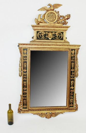 French Empire gilt wood mirror with eagle