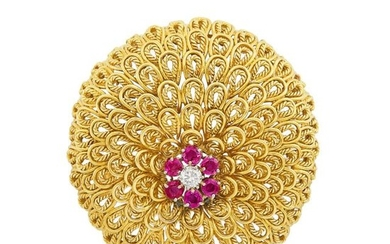 Gold, Diamond and Ruby Brooch