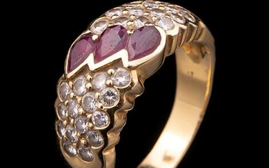 Gold, Faceted Ruby, Diamond Earrings and Ring