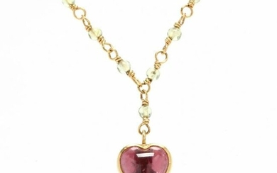 Gold, Pink Tourmaline and Green Stone Necklace