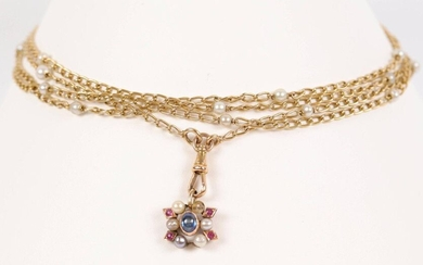Gold chain (750) with alternating decoration of pearls and flower pendant (missing). L: 163 cm, Weight 38.4 gr