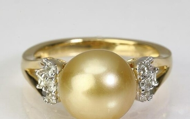 Golden South Sea pearl, diamond, and 18k ring
