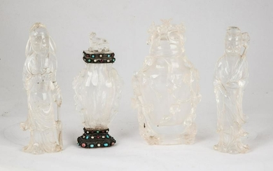 Group of Chinese Carved Rock Crystal Urns & Court