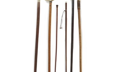 Group of six wood canes with ivory or antler...
