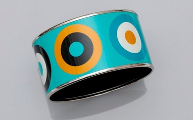 HERMES Paris, Rigid bracelet, applied polychrome enamel, drawing motifs 1970, width 3,4 cm, interior diameter 6,10 cm, signed