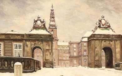 Harald Pryn: A view towards the back of Christiansborg Castle, Copenhagen. Signed Harald Pryn. Oil on canvas. 33×42.