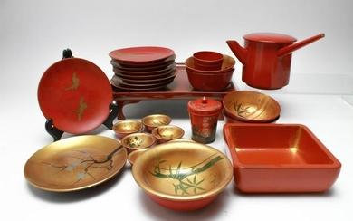 Japanese Red & Gilt Lacquer Serving Pieces