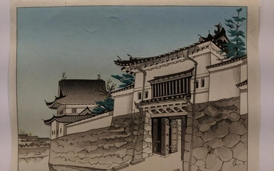 Japanese Woodblock Print of Hugashute Castle Gate