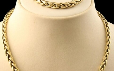 Jewellery gold - 14k yellow gold set consisting of a necklace and bracelet, both with a braided link - 18 and 47 cm