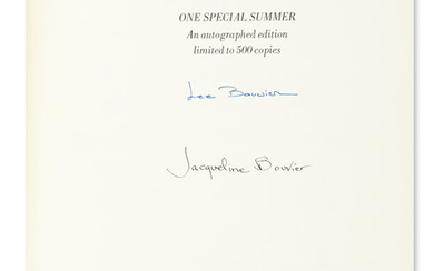 "KENNEDY, JACQUELINE. One Special Summer. Signed, ""Jacqueline Bouvier,"" on half title."