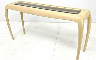Karl Springer Style Decorator Hall Console Table. Glass