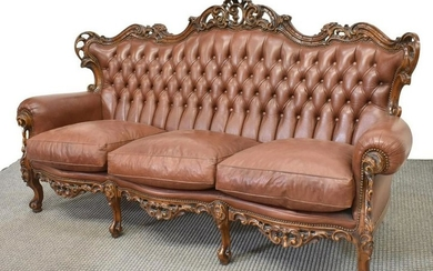 LOUIS XV STYLE CARVED LEATHER TUFTED SOFA