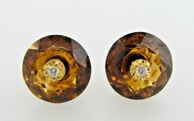 LOVELY 14k Yellow Gold, Topaz & Diamond Earrings