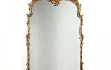 Large Antique Rococo Style Carved and Gilt Mirror