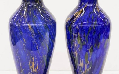 Large Pair of Cobalt Blue End of Day Glass Vases