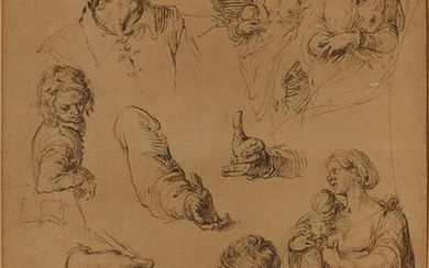 Lithograph / reproduction of a study drawing by Jacques