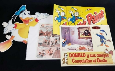Lot of 5 Paper Donald Duck Vintage Disney Items