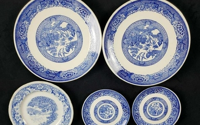 Lot of Delft Blue and Blue and White Chinese Plates