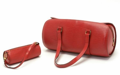 Louis Vuitton Red Epi Leather Soufflot Bag with