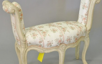 "Louis XV style upholstered window bench, ht. 25"", lg."