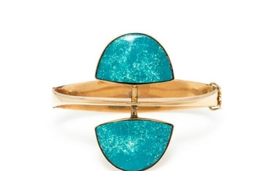 MODERNIST, YELLOW GOLD AND BLUE HARDSTONE BANGLE