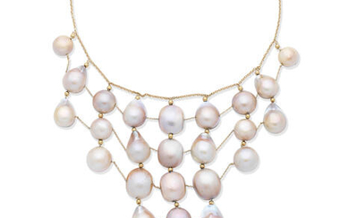 Mabé cultured pearl necklace