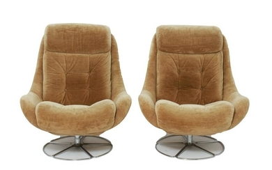 Mid-Century Modern Swivel Lounge Chairs, Pair