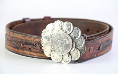 Original J.E.Gameson American Leather Belt with 15c Coin Buckle