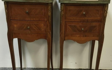 PAIR SMALL FRENCH PARQUETRY MARBLE TOP SIDE TABLES