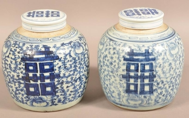 Pair 19th Century Canton Oriental Porcelain Ginger