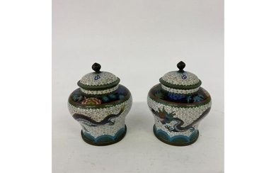 Pair of Chinese Cloisonne' Covered Vases