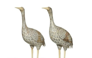 Pair of Chinese Mother-of-Pearl Cranes, Qianlong