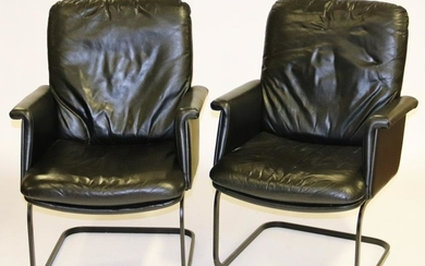 Pair of Designer Black Leather Chairs