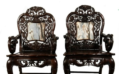 Pair of Marble-Backed Chinese Chairs, 19th Century