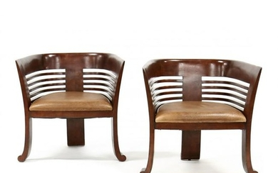 Pair of Modernist Barrel Back Club Chairs