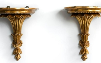 Pair of Neoclassical Style Gilt Carved Brackets