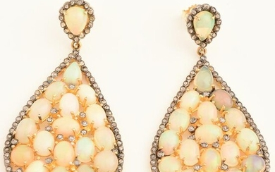 Pair of Opal, Diamond, Sterling Silver-Topped, 14k