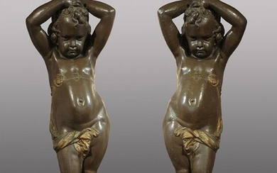 Pair of Putti Torcheres by Durenne