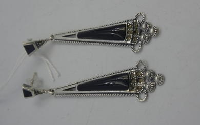 Pair of silver marcasite & onyx Art Deco style earrings
