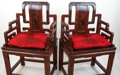 Pr. 19th C. Chinese Lacquer Arm Chairs