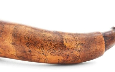 """RARE """"PITSBOURG"""" ENGRAVED MAP POWDER HORN WITH BRITISH"""