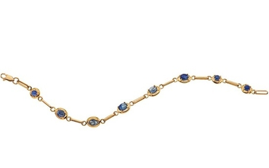 SAPPHIRES WRISTBAND. 14K YELLOW GOLD