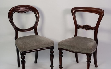 SET OF FOUR VICTORIAN MAHOGANY SINGLE DINING CHAIRS, each wi...