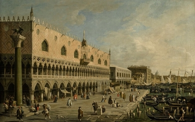 STUDIO OF GIOVANNI ANTONIO CANAL, CALLED CANALETTO | RIVA DEGLI SCHIAVONI LOOKING EAST, WITH THE COLUMN OF ST. MARK TO THE LEFT