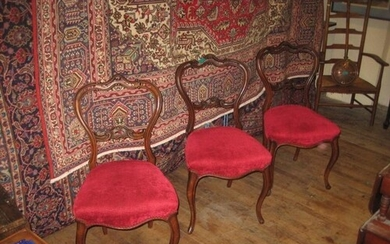 Set of 3 Victorian Rosewood Occasional Chairs with Carved Ba...