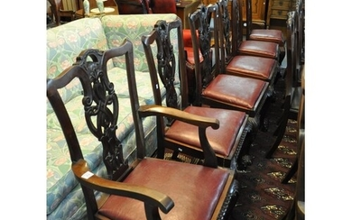 Set of six mahogany Chippendale style dining chair with leat...