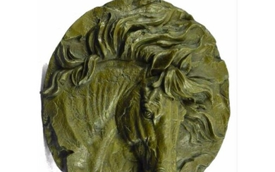 Signed Equestrian Horse Bronze Bust Wall Plaque