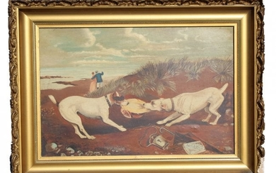 """Signed Walton """"Love and Strife"""" Oil Painting"""