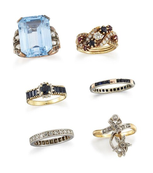 Six rings, comprising: a diamond, sapphire and ruby half-hoop, the...