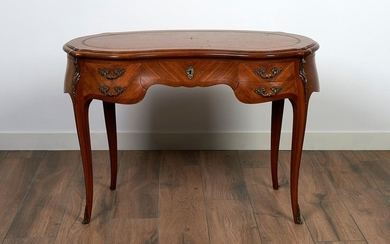 Small lady's veneer kidney shaped desk with 4...